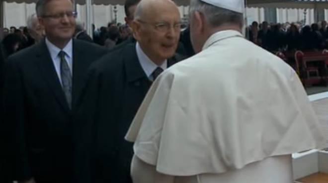 Canonizzazione 27 Aprile 2014 - Papa Francesco e Giorgio Napolitano