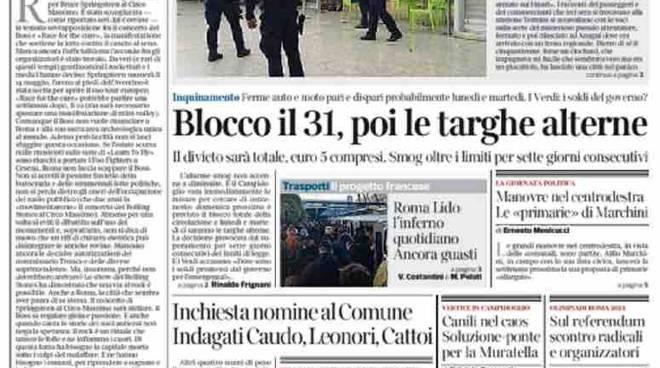Corriere della Sera Roma prima pagina – 26 gennaio 2016