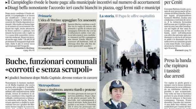 Il Messaggero prima pagina cronaca di Roma - 21 gennaio 2016