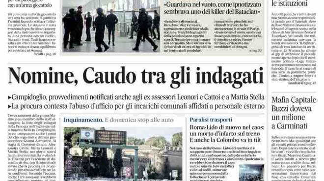 Il Messaggero prima pagina cronaca di Roma – 26 gennaio 2016