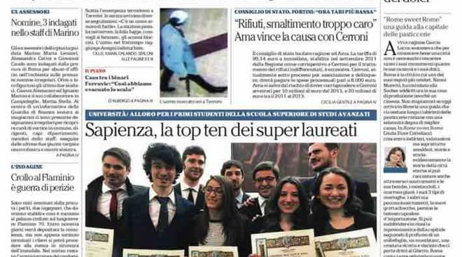 Repubblica Roma prima pagina – 26 gennaio 2016