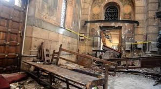 La chiesa copta dopo l'attentato.