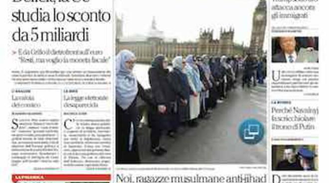 La Repubblica i titoli della prima pagina di oggi 28 marzo 2017