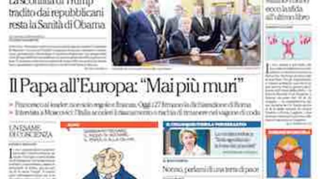 La Repubblica titoli prima pagina 25 marzo 2017