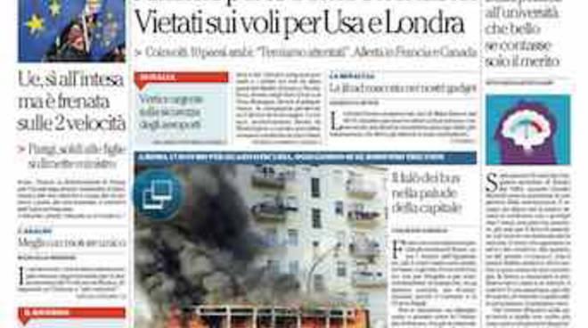 Repubblica - Prima Pagina di oggi