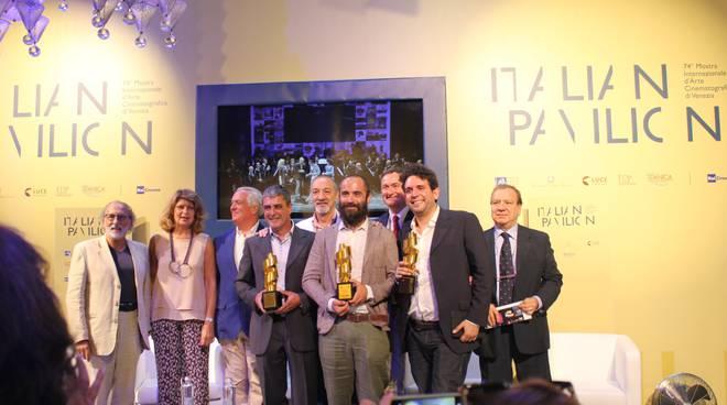 I tre Premiati de La Pellicola d'oro con la Giuria
