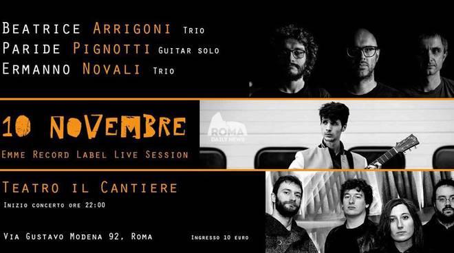 Emme Record Label Live Session presso il teatro Cantiere: sul palco Pignotti, Arrigoni, Novali
