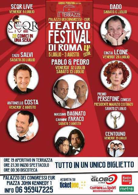 Dal 5 luglio al 3 agosto torna la kermesse Le Terrazze Teatr