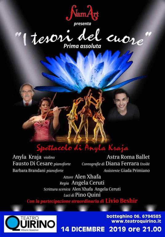 """Al Teatro Quirino di Roma il 14 dicembre """"I Tesori del Cuore"""